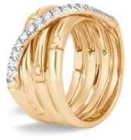 John Hardy 18K Yellow Gold Diamond Bamboo Ring
