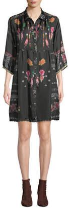 Johnny Was Agalia Lazer Printed Silk Tunic, Plus Size