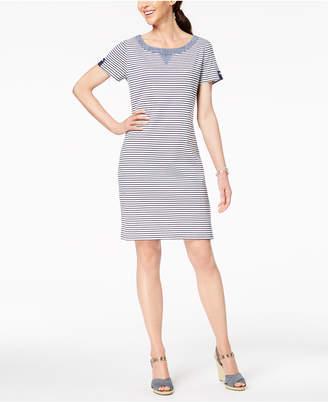 Karen Scott Cotton Striped Button-Accent Dress