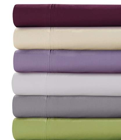 Tribeca Living Long Staple Cotton Percale Deep Pocket Solid Sheet Set 350 Thread Count - Tribeca Living®