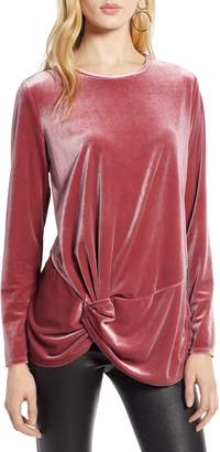 Halogen Twist Front Velvet Top