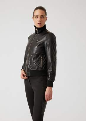 Emporio Armani Ea7 Padded Jacket In Faux Leather With Faux Fur Lining