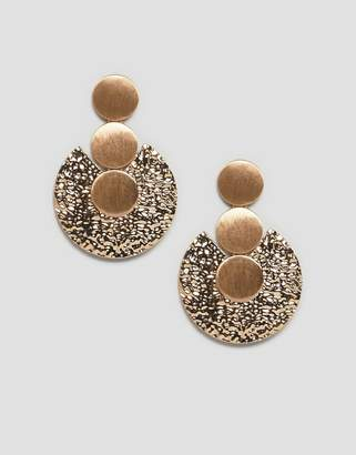 Asos Design Earrings With Sleek And Hammered Discs In Gold