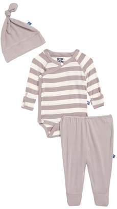 Kickee Pants Feather Contrast Stripe Three-Piece Hat, Bodysuit & Pants Set
