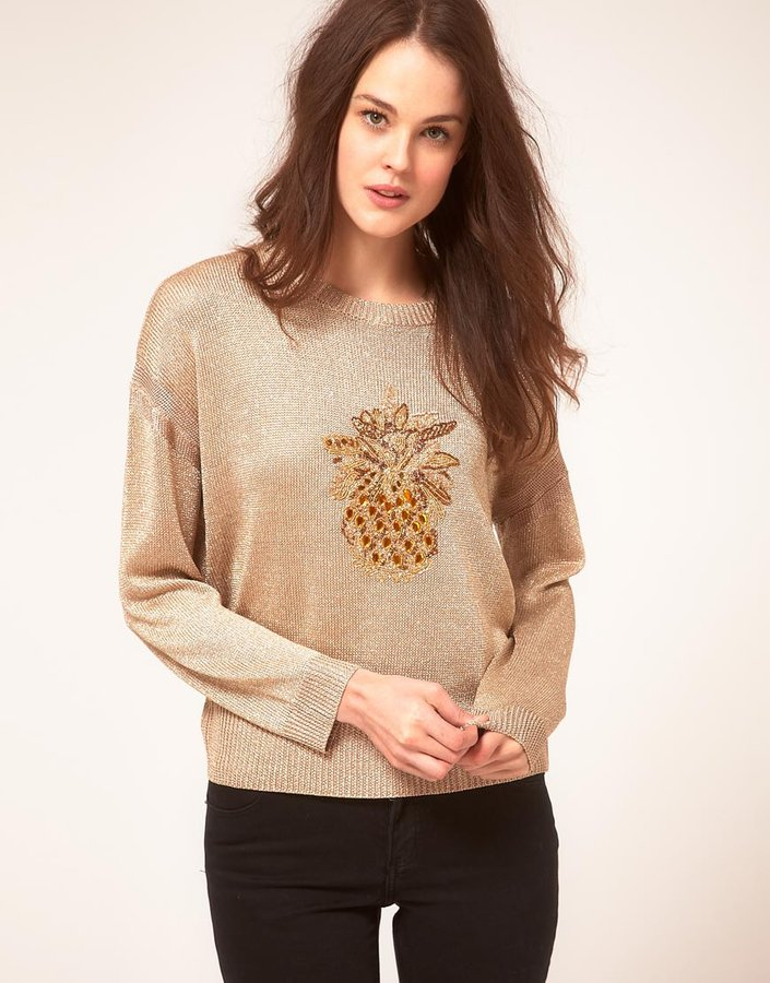 Whistles Dolcy Lurex Pineapple Sweater