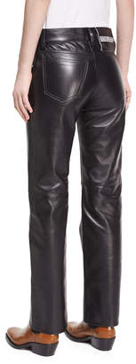 Calvin Klein Leather Straight-Leg Jeans