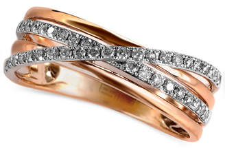 Effy Pave Rose by Diamond Pave Crossover Ring (1/4 ct. t.w.) in 14k Rose Gold