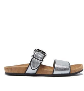 Prada Double-strap metallic leather slides
