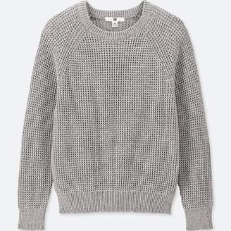 Uniqlo Kid's Waffle Crewneck Long-sleeve Sweater