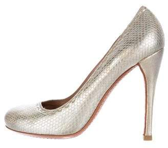 Alaia Metallic Leather Embossed Pumps