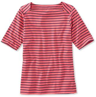 L.L. Bean L.L.Bean Pima Cotton Tee, Elbow Sleeve Envelope-Neck Stripe