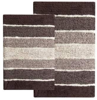 Benzara Cordural Mixed 2-Piece Bath Rug Set, Black and Gray