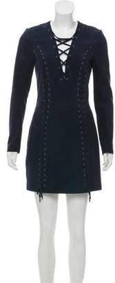 Intermix Suede Lace-Up Mini Dress