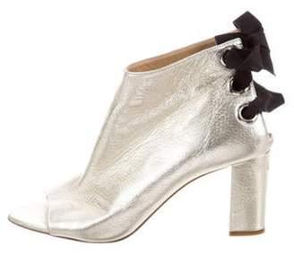 Jerome C. Rousseau Metallic Peep-Toe Boots Metallic Metallic Peep-Toe Boots