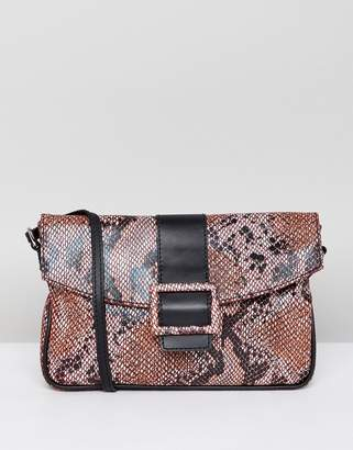 Asos Design DESIGN leather 90s shoulder bag in snake