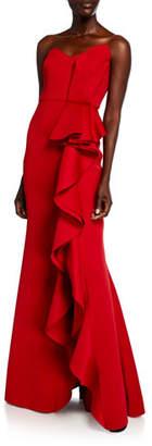 Badgley Mischka Strapless Sweetheart Side Ruffle Gown