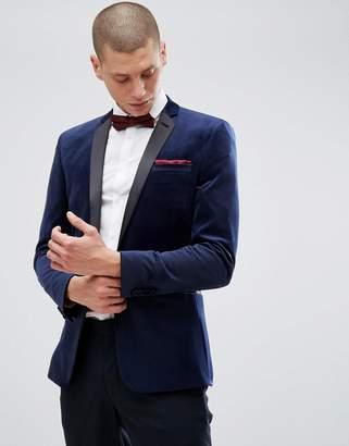Asos Design Super Skinny Blazer In Navy Velvet