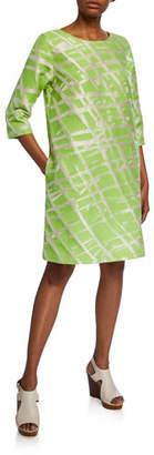 Caroline Rose Citrus Jacquard 3/4-Sleeve Dress