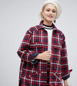 Monki Check Lightweight Jacket With Pockets