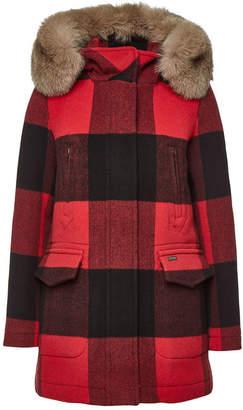 Woolrich McKenzie Checked Wool Parka with Fox Fur