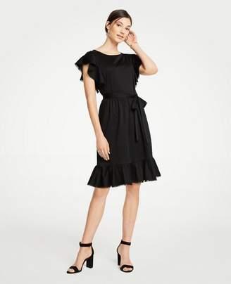 Ann Taylor Tie Waist Flutter Dress