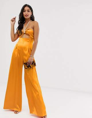 Asos Design DESIGN jumpsuit with cut out and rope detail