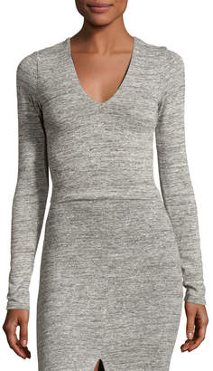 Alice + Olivia Jori V-Neck Long-Sleeve Crop Top, Gray