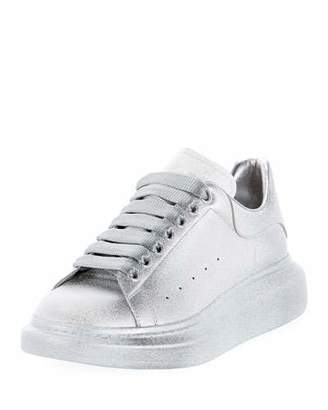 Alexander McQueen Men's Oversized Tonal Metallic Leather Sneakers