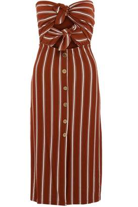 Quiz Rust And Cream Stripe Button Midi Dress