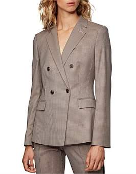HUGO BOSS Regular-Fit Houndstooth Jacket With Double-Breasted Closure