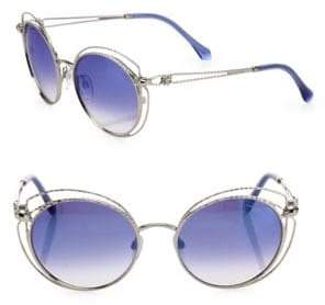 Roberto Cavalli 55MM Round Mirrored Metal Sunglasses