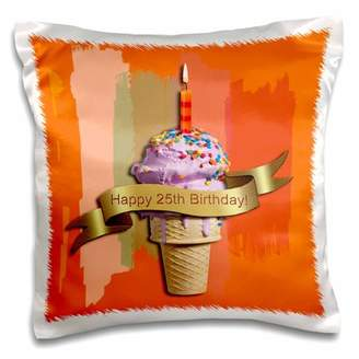 3dRose Happy 25th Birthday, Strawberry Ice Cream Cone on Abstract, Orange - Pillow Case, 16 by 16-inch