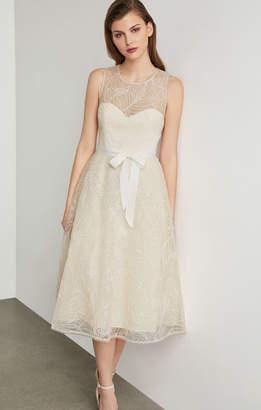 BCBGMAXAZRIA Metallic Floral Embroidered Flared Dress