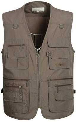 Remitido Mens Pockets Jacket Outdoors Travels Sports Vest Tops