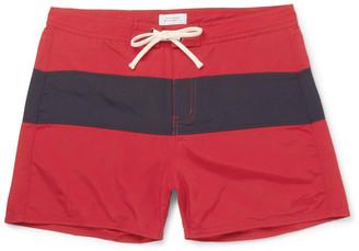 Saturdays NYC Grant Short-Length Colour-Block Faille Swim Shorts $85 thestylecure.com