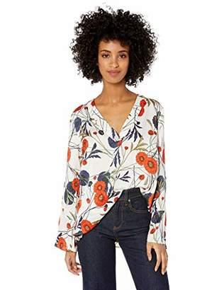 Chaus Women's Long Sleeve V-Neck Zinnia Garden Blouse