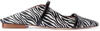 Malone Souliers Maureen Leather-trimmed Zebra-print Satin Point-toe Flats - Zebra print