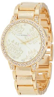 Isaac Mizrahi Live! Etched Floral Design Bracelet Watch