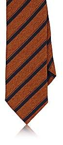 Barneys New York MEN'S STRIPED BASKET-WEAVE SILK-COTTON NECKTIE-ORANGE