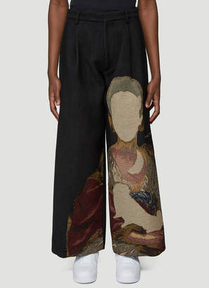 Off-White Off White Tapestry Wide Leg Pants in Black