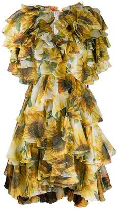 Dolce & Gabbana sunflower print ruffled dress