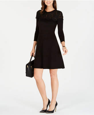 Jessica Howard Illusion-Lace Sweater Dress
