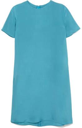 Valentino Two-tone Silk-satin Mini Dress - Blue