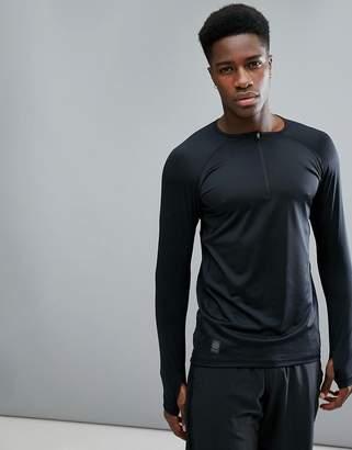 Skins Running Trooper Mid-Layer Half Zip Sweat In Black SP00461529001