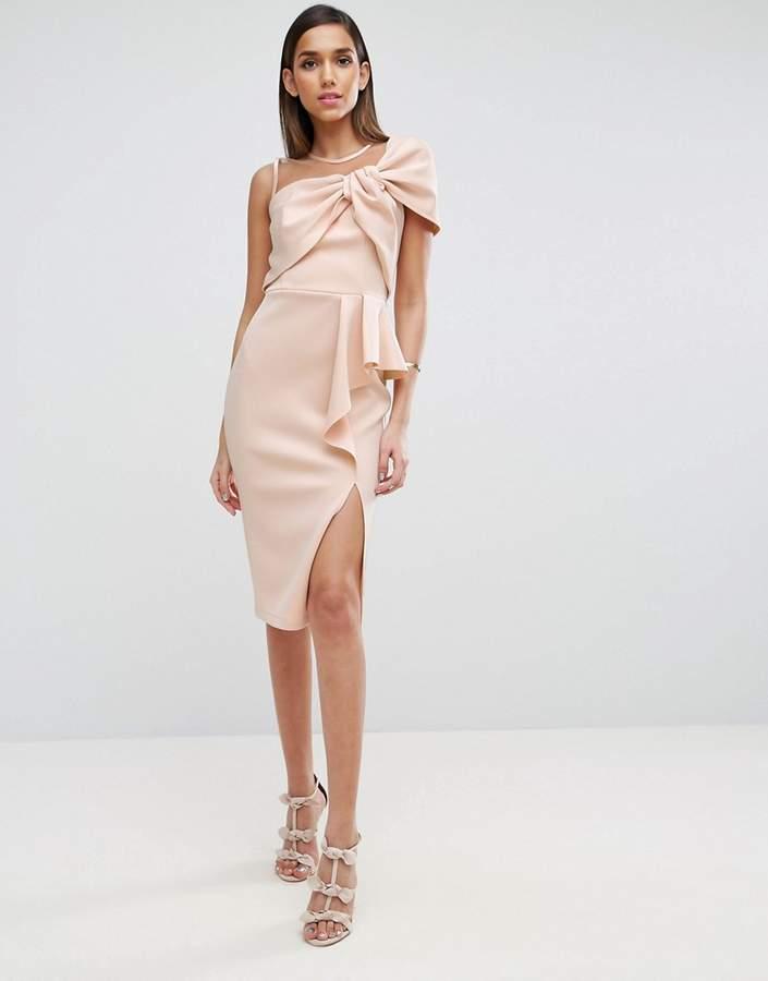 AsosASOS Mesh Top Scuba Bow Ruffle Midi Pencil Dress