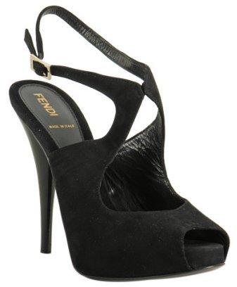 Fendi black suede cut-out peep toe sandals