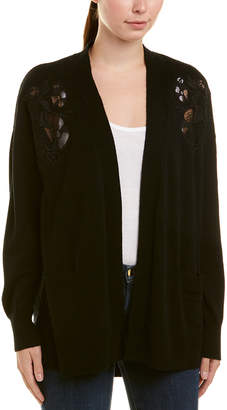 Sandro Lace-Detailed Wool & Cashmere-Blend Cardigan