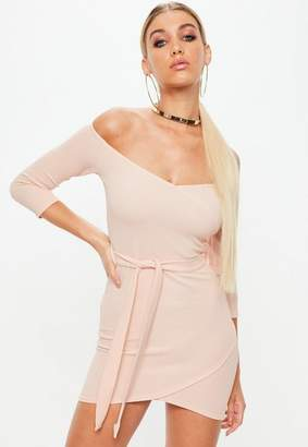 Missguided Rose Long Sleeve Tie Front Wrap Dress