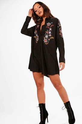 boohoo Embroidered Collar Smock Shirt Dress