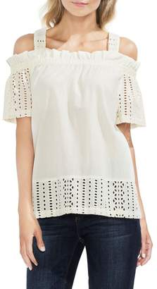 Vince Camuto Cold Shoulder Eyelet Blouse